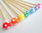 Toadstool Knitting Needles- Bamboo- Rainbow