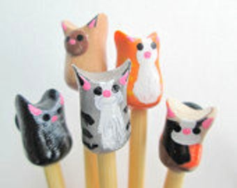 Cat Knitting Needles- made to order on premium bamboo