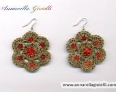 Crochet earrings #E180, green, flower, handmade, shimmer, golden, thr