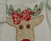 Christmas  one piece bodysuit for girls rudolf hand appliqued and embroidered NeW FaBRiCs