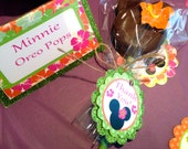 Edible Luau Chocolate Minnie Mouse Oreo Pops Frost the Cake