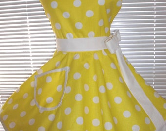Retro Apron Yellow White Polka Dots Circular Flirty Skirt