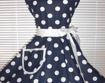 Pinup Sweetheart Retro Apron Navy Blue White Polka Dots Circular Flirty Skirt