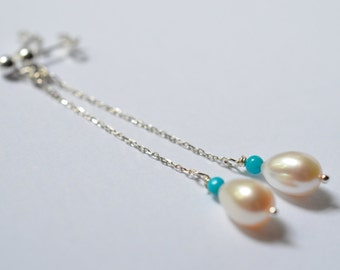 Turquose and Pearl Long Sterling Earrings / Wedding Bridal Bridesmaids Pearl Sterling Earrings