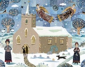 Jane Austen - Christmas Card - Church - Snow - Dog - Christmas Angels - Snowscape - Holiday - Traditional Christmas - Naive Art - Collage -