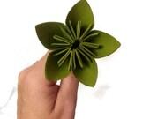 Lime Green Color Kusudama Origami Paper Flower with Stem
