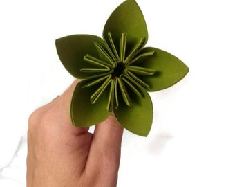 Lime Green Color Kusudama Origami Paper Flower with Stem