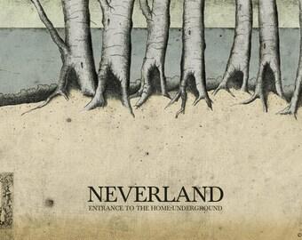 Peter Pan Neverland Fine Art Print Poster Nursery