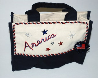 Patriotic Tote Purse Embellished  with Hand Embroidery
