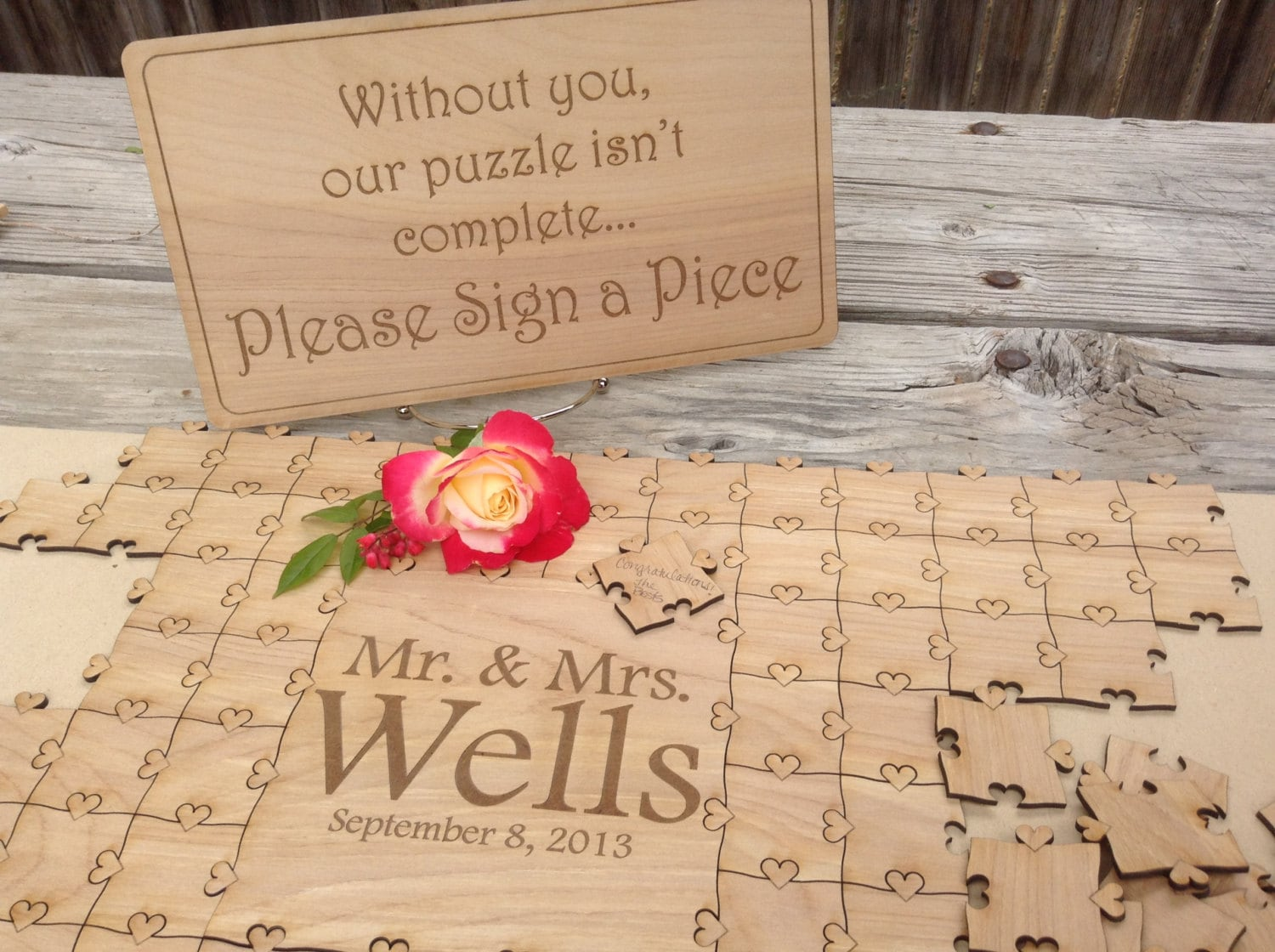 Items Similar To 75 Pieces Wedding Heart Puzzle For Wedding Guest Book Custom Puzzle W Heart
