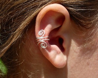EAR CUFF Solid Sterling Silver Ear Cuffs with double swirls