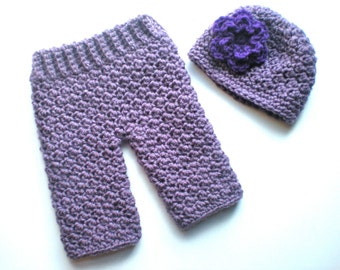 PATTERN:  Baby Girl Longies and Flower Hat Set, Easy Crochet PDF, 2 sizes, Pants and Beanie, InStaNT DowNLoaD, Permission to Sell