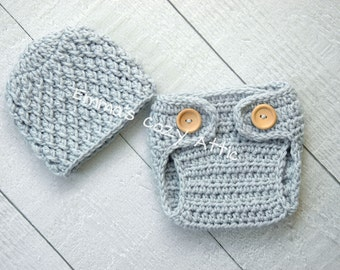 Newborn boy hat and diaper cover set baby boy hat baby boy photography prop blue crochet knit infant boy hat - MADE TO ORDER