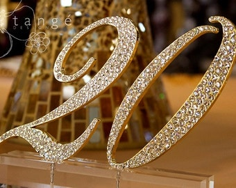1-18 Rhinestone GOLD Table Number for Wedding decoration/ Birthday/ bling table number/ wedding table decor/ wedding decoration/ quinceanera