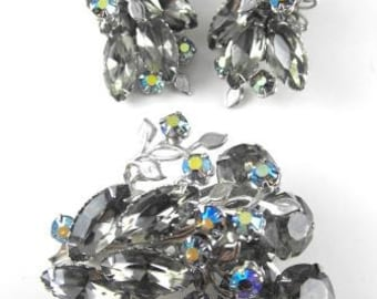 Rhinestone Brooch Earring Set Beau Jewels Design Style Smoke AB Stones Tiered Riveted Construction