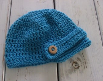 """Crochet baby boy newsboy hat with wooden buttons in """"Hot blue"""" 0-3 months, 3-6, 6-12"""