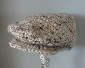 Crochet Baby Boy Scally Cap/ Drivers Hat- Oatmeal 0-6 months to 5 years MADE TO ORDER