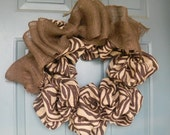 Burlap Wreath in Zebra with Large Burlap Bow- Speciality Fabric - 21''