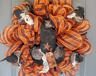 Halloween Wreath Deco Mesh Primitive Witch Hat - Customize Your Own