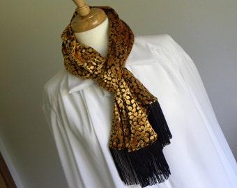 Gold and Black Burnout Velvet Silk Scarf with Black or Gold Fringe, Soft Crushed Velvet Wrap Scarf with Fringe