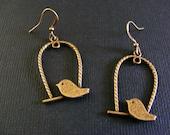 Bronze Bird On A Perch Earrings