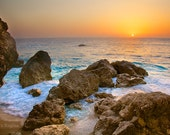 Large sea sunset landscape, large photo print of a sunset over sea, foamy water, boulders, paradise island, Greece