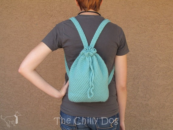 Boho Crochet Backpack Purse - Aqua, Light Teal