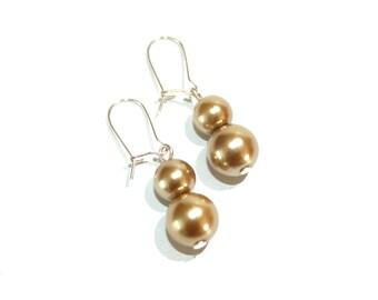 Glass pearl earrings in tan, with silver tone kidney earwires, minimalist bridal jewelry