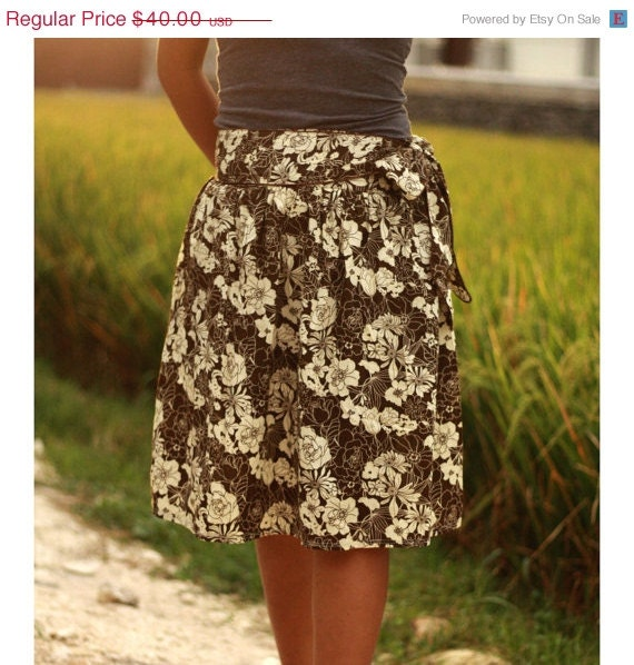 CLEARANCE SALE 30% Brown Floral Midi Skirt with sash belt