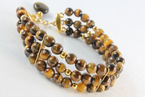 Tiger Eye, Gold Filled, Gold  Pewter, 3-Strand Fashion Bracelet