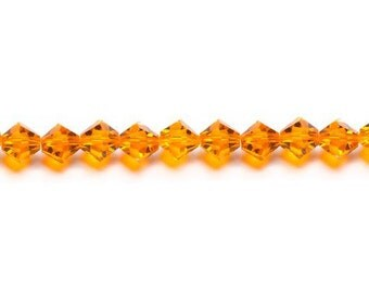 Red Topaz - Crystazzi Crystal Faceted Bicone Beads - 6mm Orange 18 Pieces - New in Package