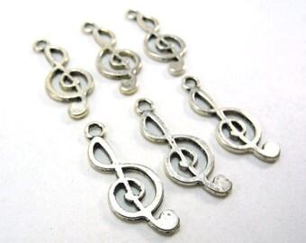 6 pcs Antique Silver Music Note Treble Clef Charms - 26mm long