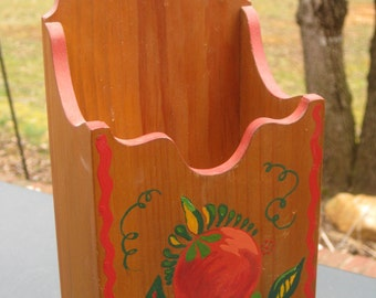 Vintage Wood Catch All, Tole Painted Fruit, Spoon Caddy, Long Matches, Mail,