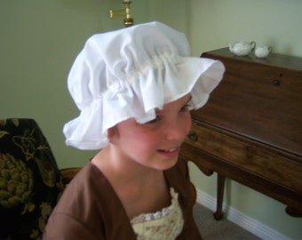 "White 100% Cotton Colonial / Pioneer Mob Cap, 18"" - 22"" Inches Around Head, Can Be Adjusted"