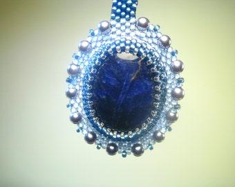 Lapis Lazuli Beadwork Pendant Necklace