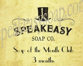Soap of the Month Club - 3 months, Speakeasy Soap, vegan, handmade