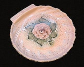 1930s Pink Cambridge Glass Plate Tray Crown Tuscan Charleton Pink Plate Handpainted Shell Shape