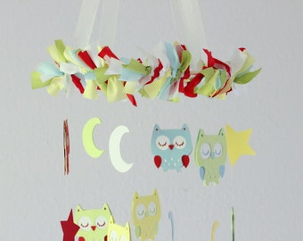 Owl Nursery Mobile in Red, Green, Yellow, White & Blue-  Baby Mobile, Baby Shower Gift