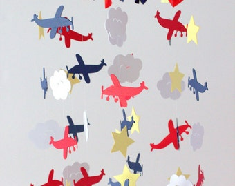 Airplane, Cloud & Star Nursery Mobile in Navy Blue, Yellow, Red, White- Baby Shower Gift, Photographer Prop
