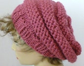 Mens or Womens Hand Knit Beehive Slouch Hat Color Rose (H-124)