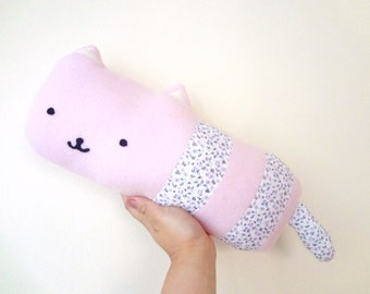 FREE US SHIPPING! Sausage Cat- pink kitty stuffed toy with floral stripes // kawaii cat kitten plush stuffed animal toy pillow