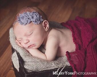 baby headband..gray hair accessories for baby girl shabby chic baby headband photography prop and toddler girl headband