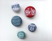 Travel Magnet Set with Fabric Covered Buttons in Denim Blue, White and Dark Red