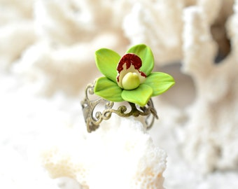 Green Cymbidium Orchid Ring, Green Orchid Ring, Orchid Jewelry, Green Cymbidium Orchid Clay Jewelry