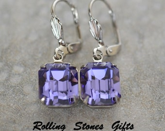 12x10mm Tanzanite Swarovski Octagon Lever back Rhinestone Earrings-Tanzanite Crystal Dangle Rhinestone Earrings-