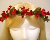 Flower Crown, Head Wreath, Small Red Flowers, Valentines Day, Wedding Bride Flower Girl, Hair & Headpiece, Christmas Holiday Angel, Kawaii