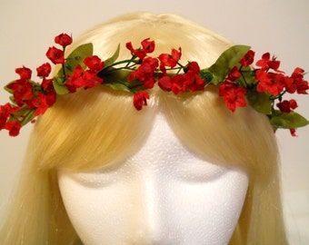 Red Flower Crown Head Wreath Small Red Flowers Valentines Day Christmas Holiday Wedding Bride Flower Girl Hair & Headpiece, Christmas Angel