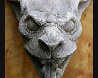 "Gargoyle Head-""Draculas Dog"" gothic architectural element- stone carving-horror-Halloween-Cast Shadows Studio-Richard Chalifour"