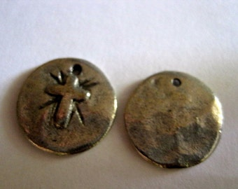 2 Antique Pewter Ancient Disc Pendant with Cross