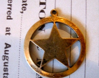 2 Brass Ox Plated large Star in Circle Pendants